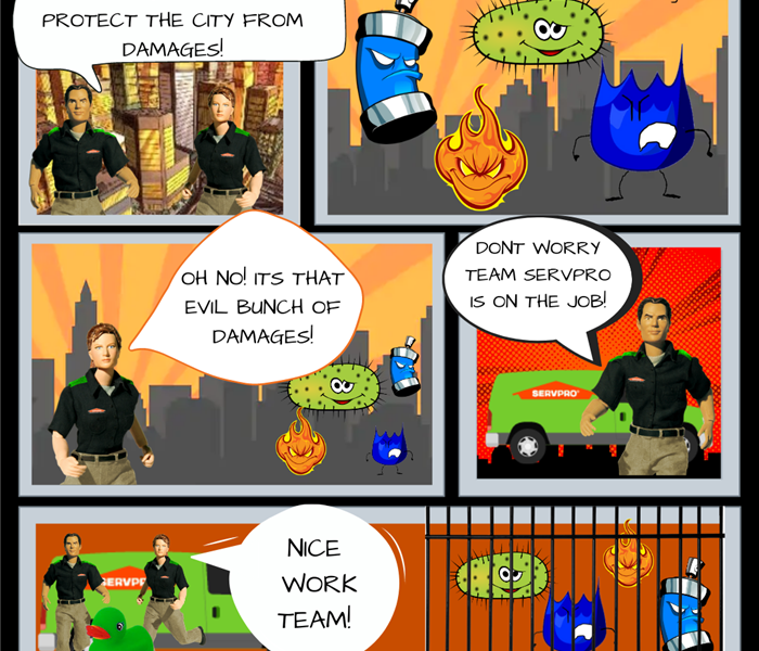 "Comic strip with SERVPRO action figures Stormy and Blaze.  Blaze says ""what a great day to protect the city from damages!"